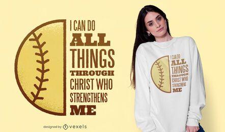 Softball christ quote t-shirt design