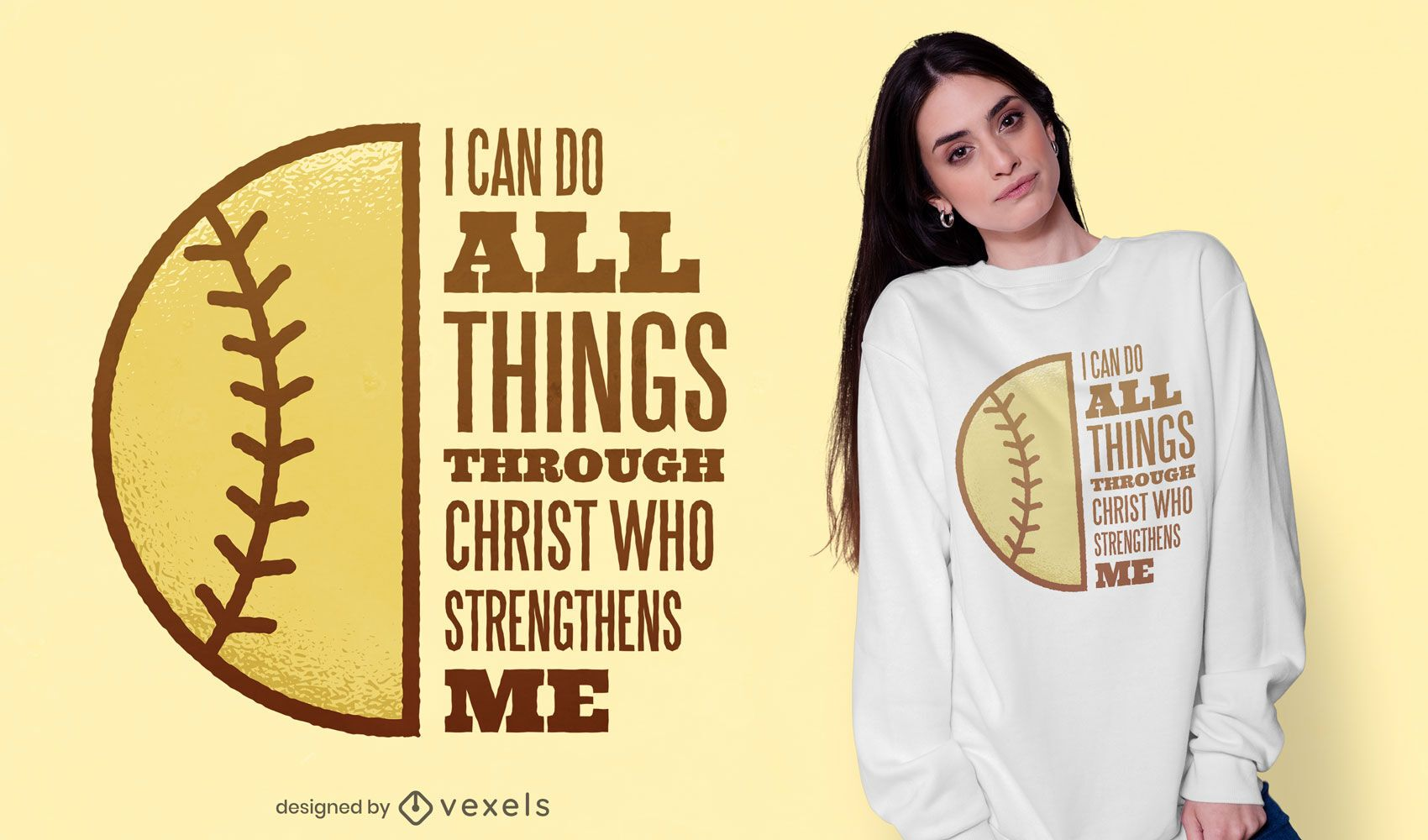 Diseño de camiseta de softball christ quote