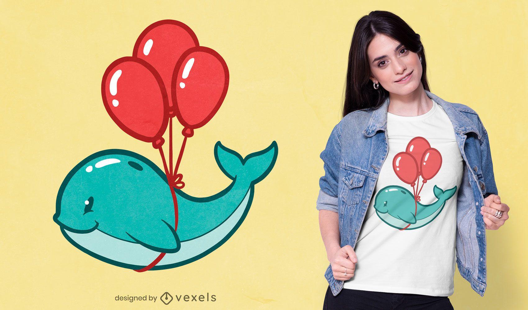 Diseño de camiseta de ballena globo