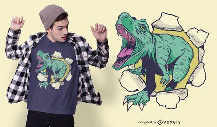 Diseño de camiseta de dinosaurio 3D