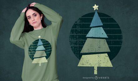 Design retrô de camisetas com árvore de natal