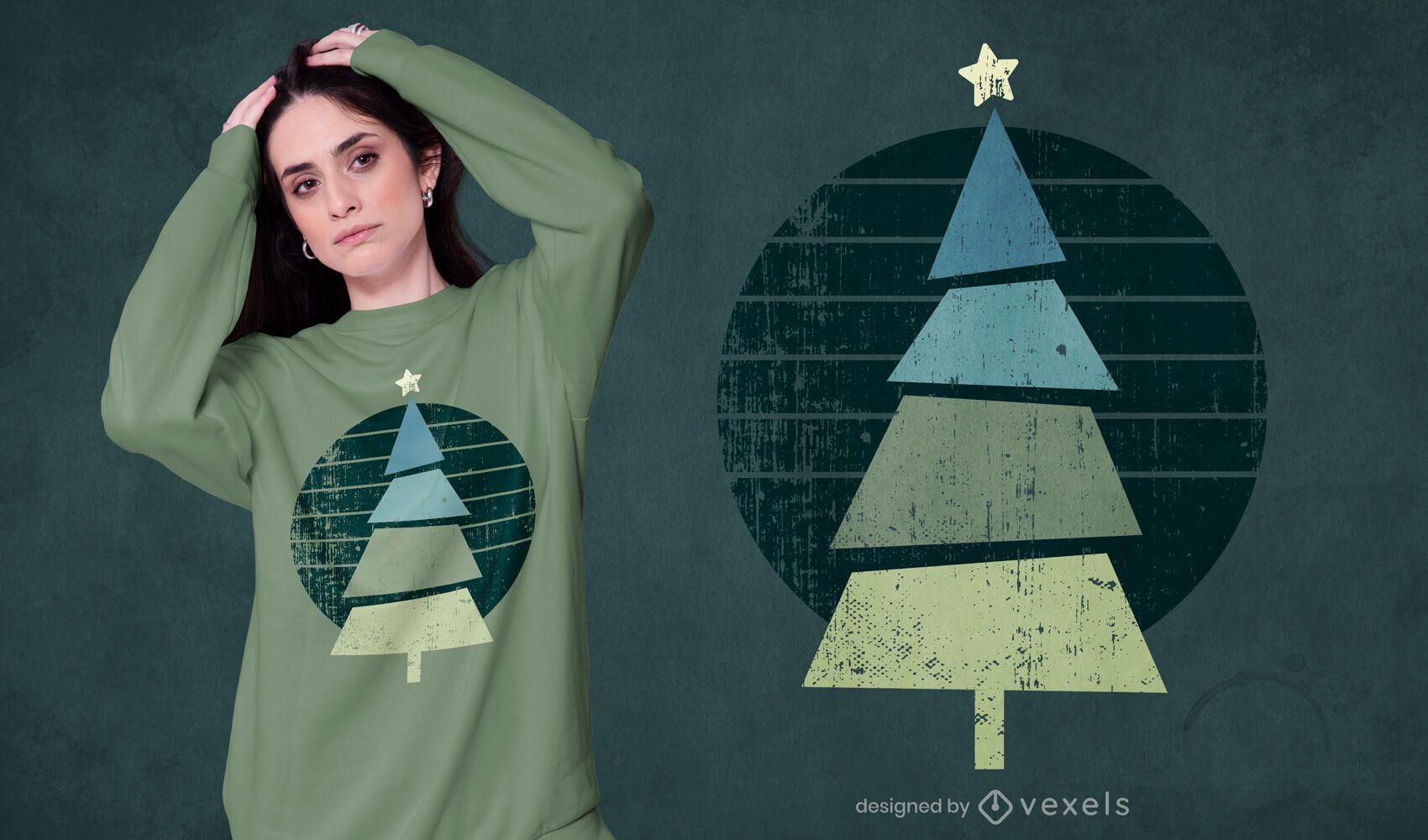 Diseño de camiseta de árbol de Navidad retro