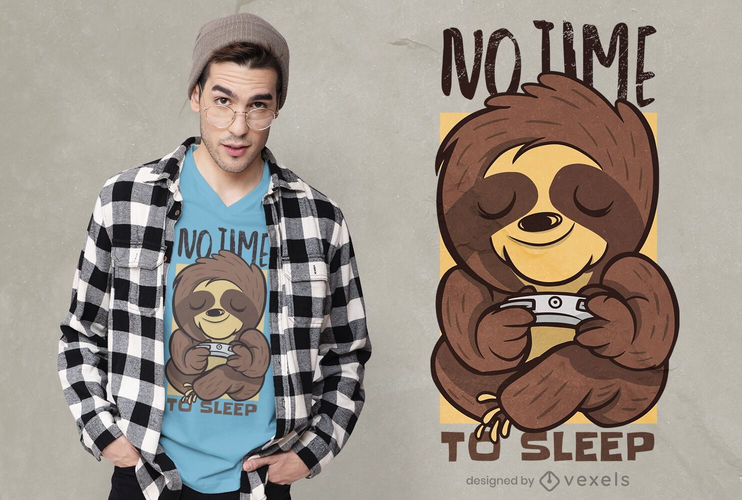 Diseño de camiseta gamer sloth