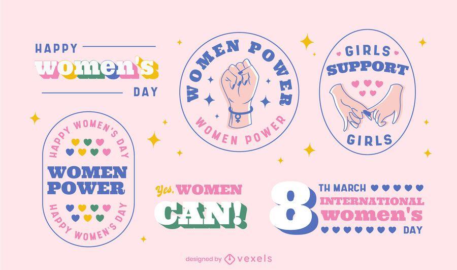 Conjunto de insignias del día internacional de la mujer.
