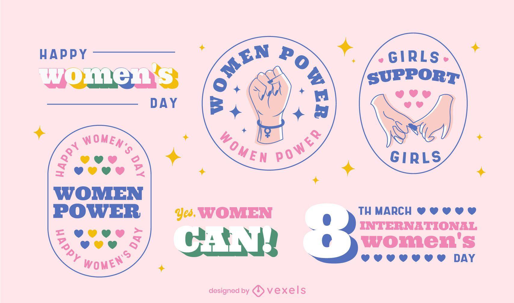 Conjunto de crach? do Dia Internacional da Mulher