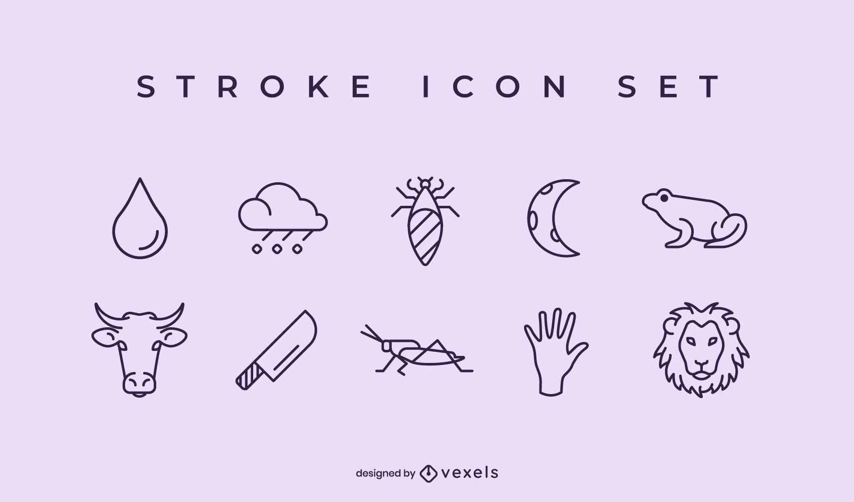 Plagues of Egypt stroke icon set