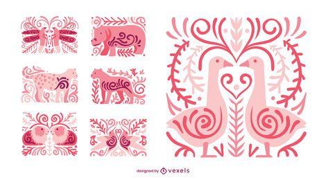 Conjunto de composição animal swirly