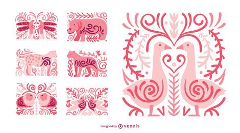 Conjunto de composición animal swirly
