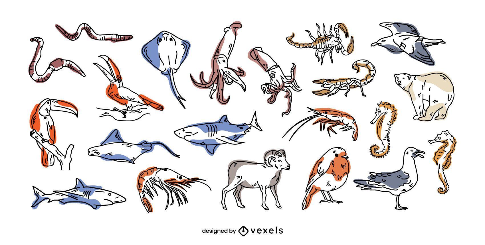 Conjunto de trazos llenos de animales