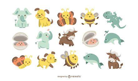 Conjunto plano de animais bebê fofo