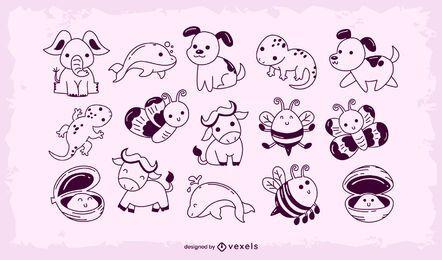 Conjunto bebê fofo de animais