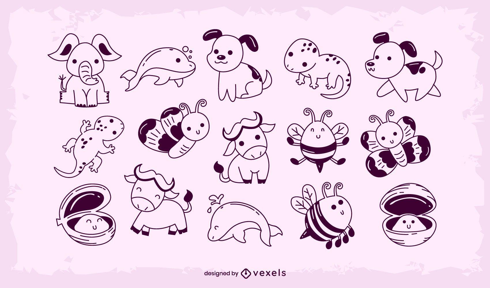 Cute baby animal stroke set