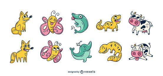 Conjunto de desenho animado de animal engraçado