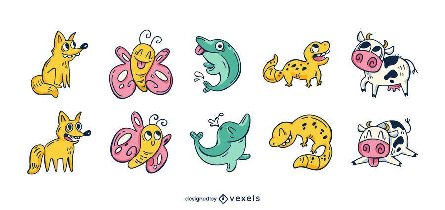 Conjunto de divertidos dibujos animados de animales