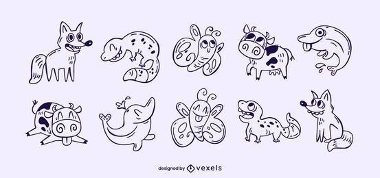 Conjunto de trazos de animales divertidos