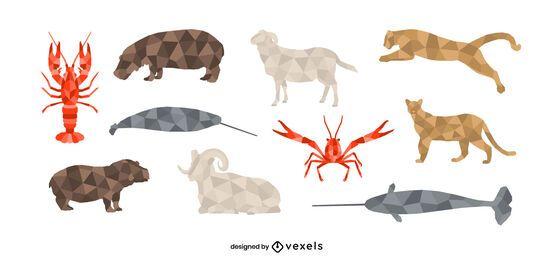 Conjunto animal low poly