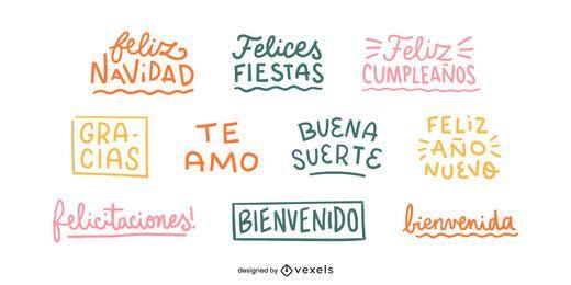 Conjunto de letras de buenos deseos en español