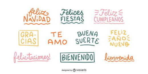 Spanish good wishes lettering set