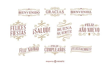 Spanish red lettering set