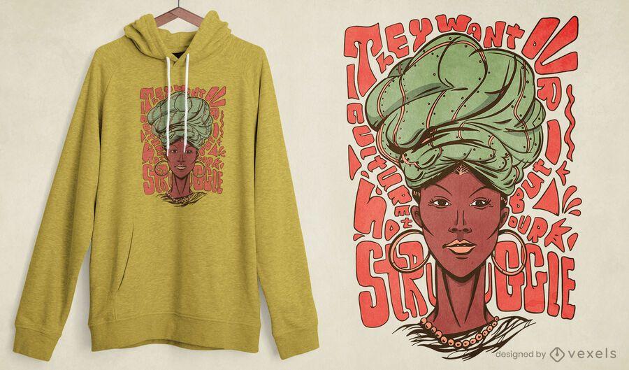Design de camiseta rainha africana