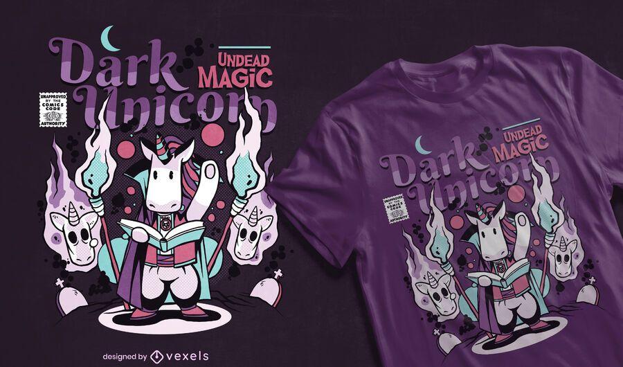 Diseño de camiseta de cómic unicornio oscuro
