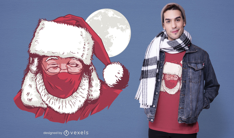 Realistic santa face mask t-shirt design