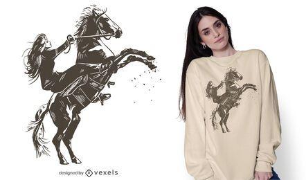 Diseño de camiseta de equitación de niña.