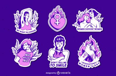 Purple feminist sticker set