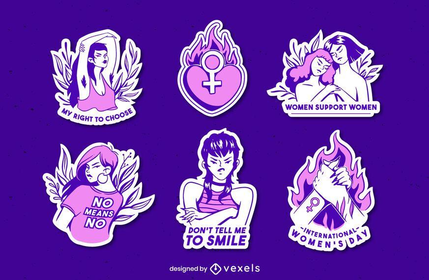 Purple feminist sticker set