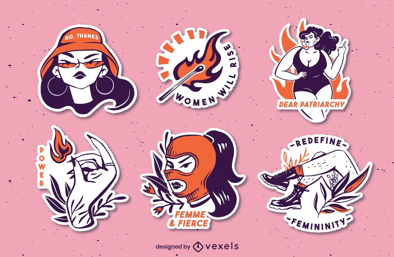 Feminist sticker set