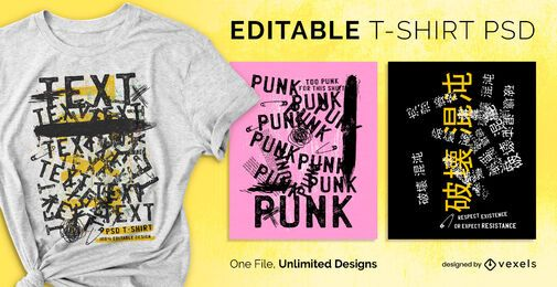Grunge text scalable t-shirt psd