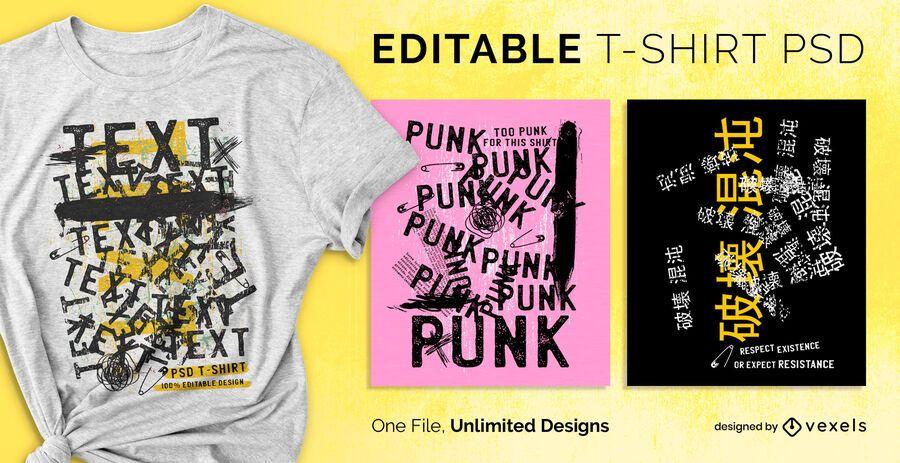 T-shirt com texto grunge escalonável psd