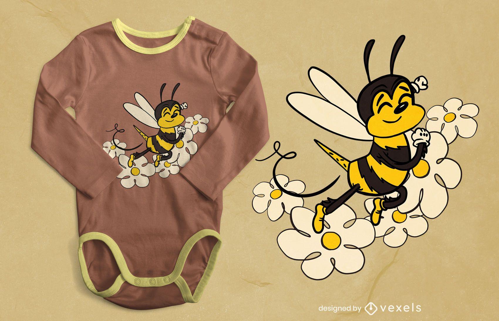Lindo diseño de camiseta de abeja