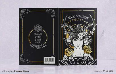 Diseño de portada de libro de hechizos mágicos