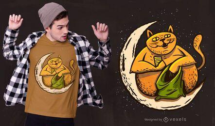 Diseño de camiseta gato con dinero.
