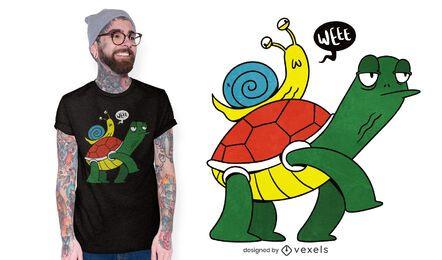 Desenho de t-shirt de caracol com tartaruga