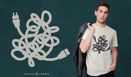 Design de t-shirt com cabos de alimentação emaranhados