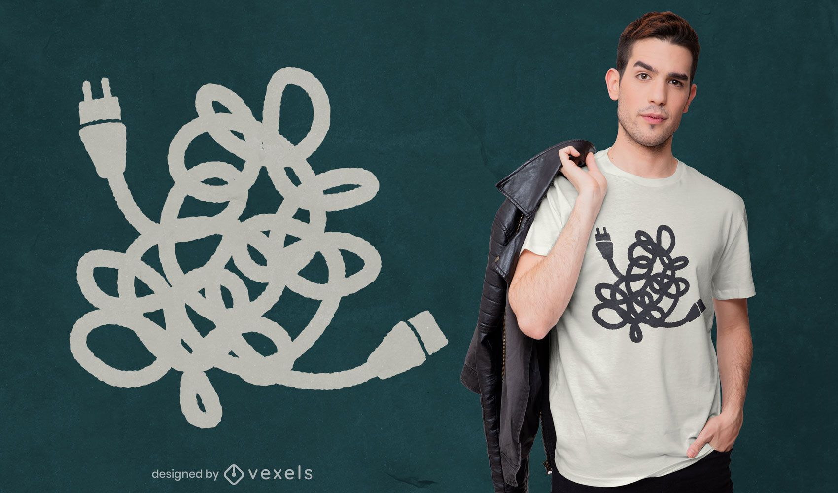 Tangled power cables t-shirt design