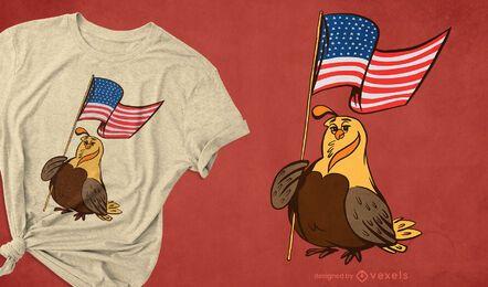 Design de camiseta de codorna patriótica