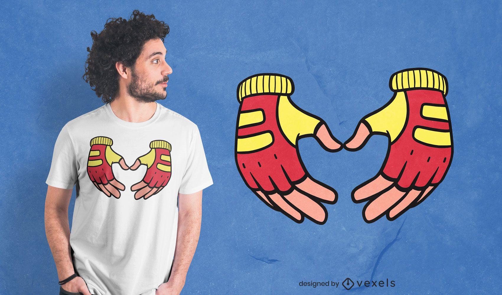 Dise?o de camiseta de guantes de ciclismo.