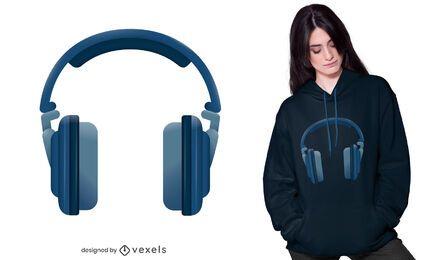 Design realista de camisetas de fones de ouvido