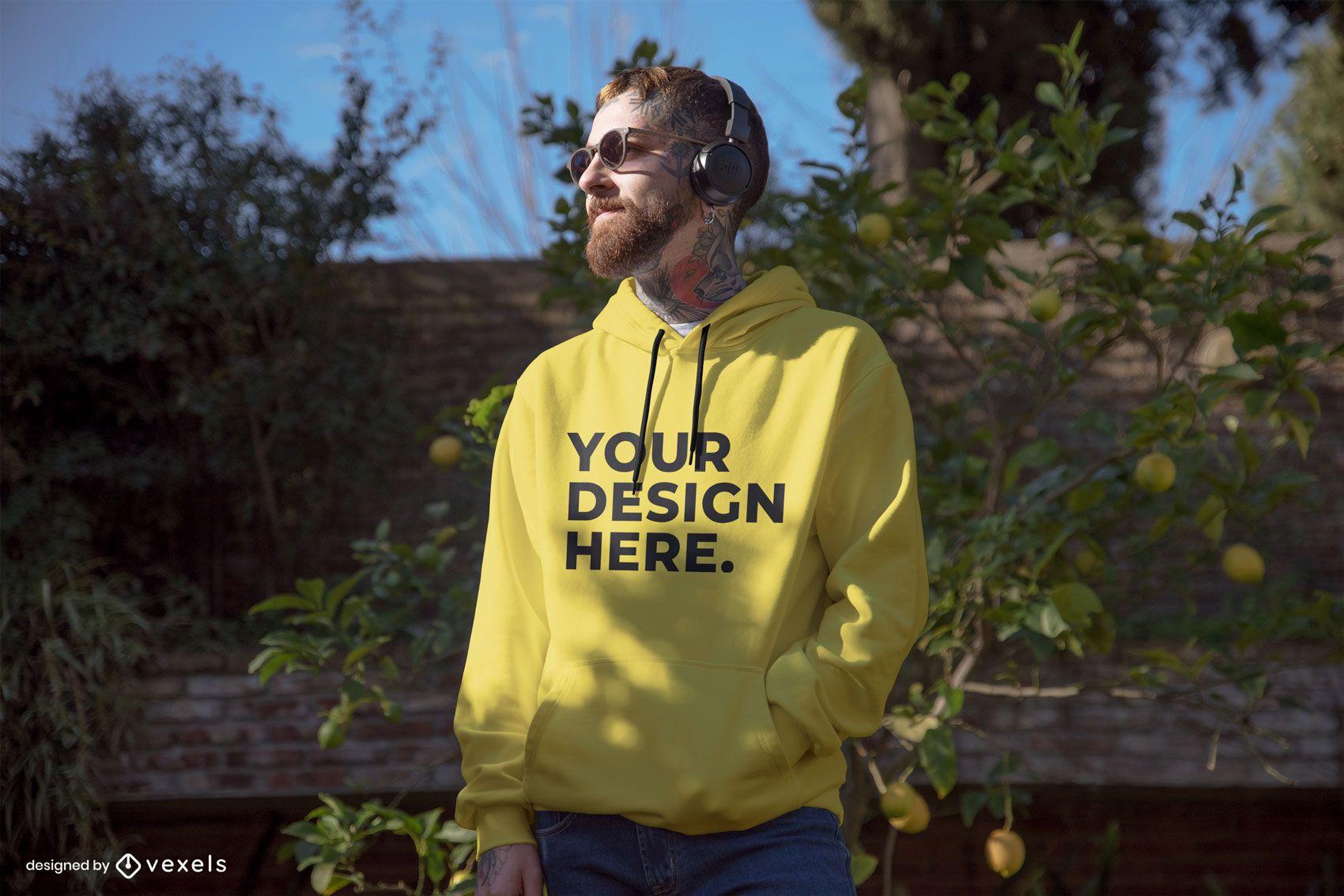 Model lemon tree hoodie mockup