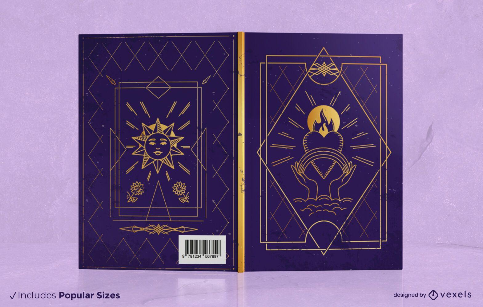 Diseño de portada de libro de tarot mágico
