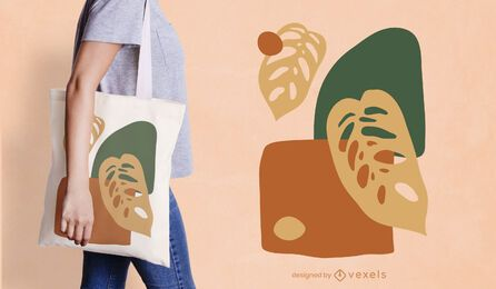 Abstract organic leaves tote bag design