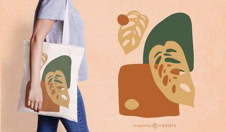 Design abstrato de sacola com folhas orgânicas