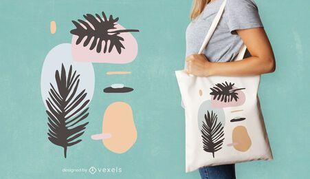 Desenho de sacola com folhas abstratas