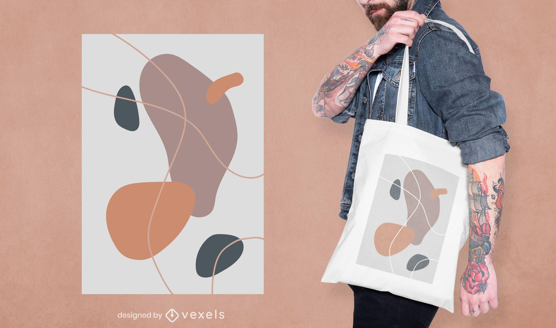 Diseño de bolso tote de formas abstractas