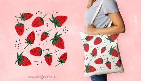 Strawberries tote bag design