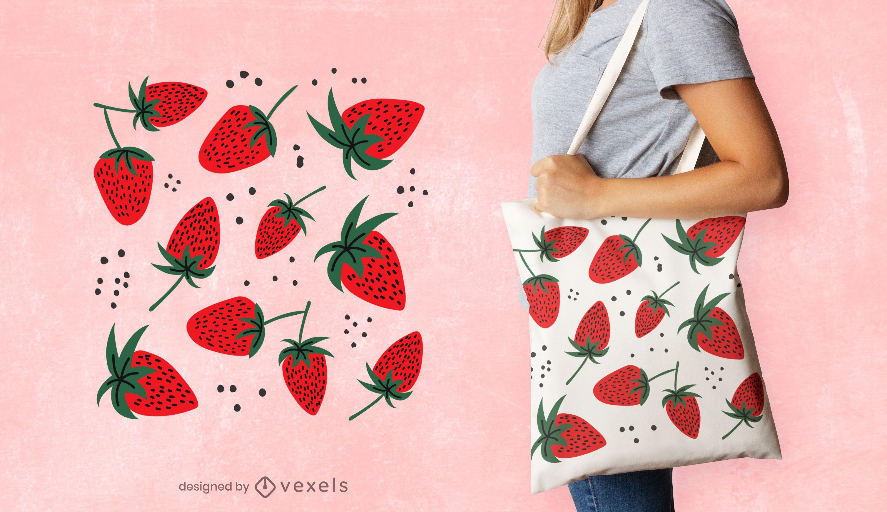 Strawberries tote bag design