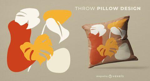 Diseño de almohada de tiro de hojas orgánicas abstractas